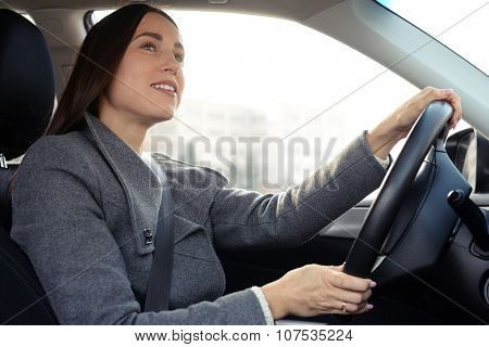 portrait of cheerful young woman driving a car