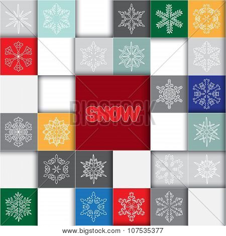 Stock Christmas Sguare Info Graphic With Icon Snowflakes. Info  Graphic Concept