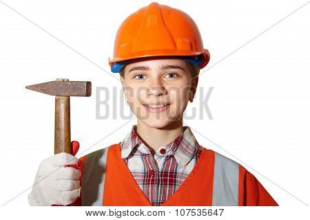 Young Contractor On A White Background. Hammer