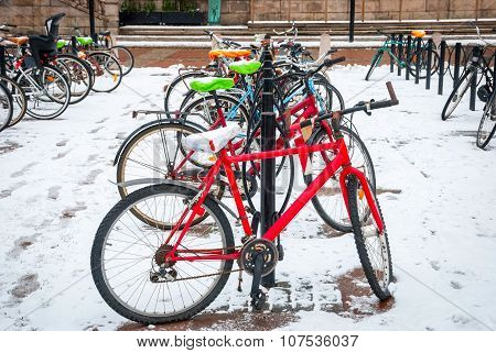 Bicycle Parking In The Winter