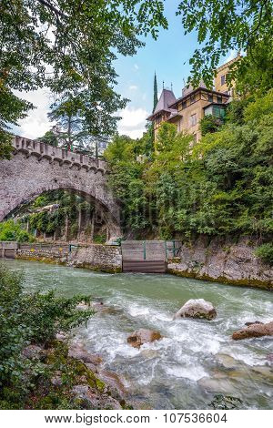 Stone Bridge Ocer Passer River In Merano