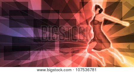 Carefree Woman Jumping as a Abstract Background