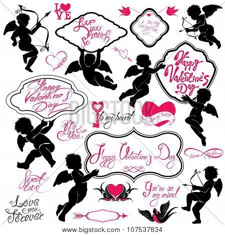 Set Of Cute Angels, Calligraphic Text Happy Valentine`s Day, Hearts And Birds Isolated On White Back