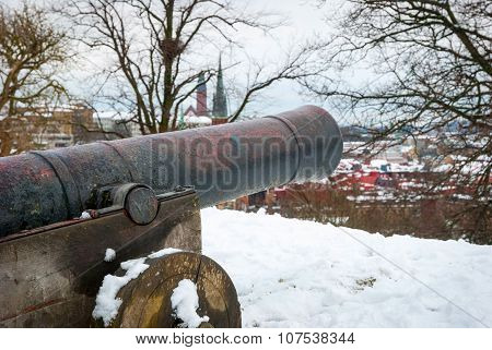 Cannon Overlooking Gothenburg In Winter