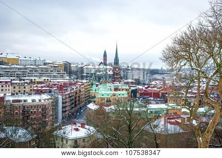 View Over Gothenburg In Winter, Hdr Photo
