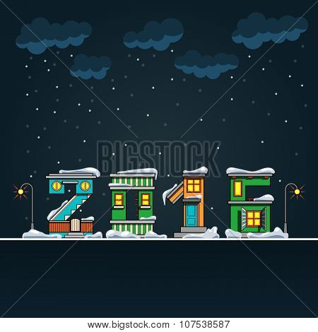 Alphabet Cartoon Winter House, Hny 2016