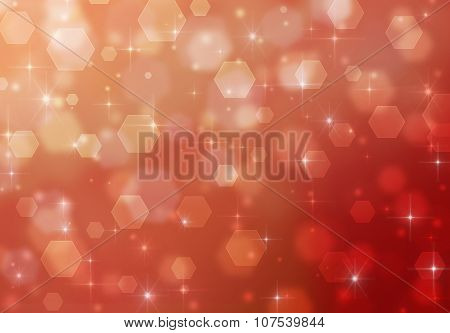 Abstract romantic pink background with sparkles and hexagons.