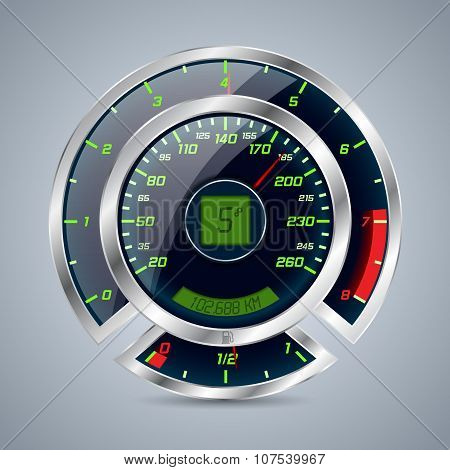 Metallic Speedometer With Big Rev Counter
