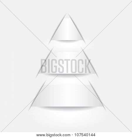 Stock Vector Paper Cut With Shadow On The Grey Background. Abstract Christmas Tree