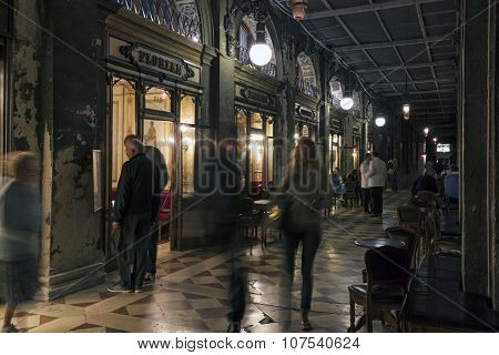 Coffee House Florian In Venice At Night
