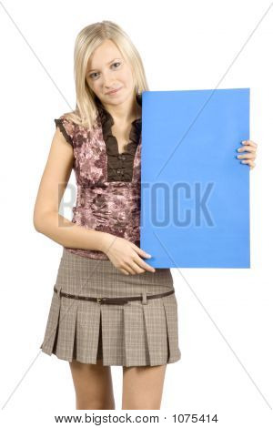 Young Blonde Woman With Message Table