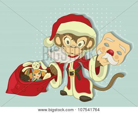 Christmas Monkey Santa with bag of gifts. Monkey symbol 2016