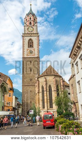 St.nicholas Church With Bell Tower In Merano.