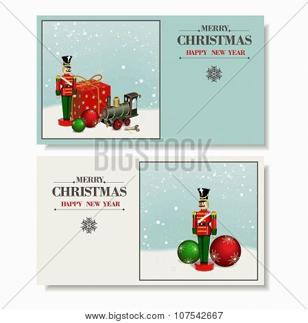 Beautiful set. Christmas and a Happy New Year greeting card. Wooden soldier ,nutcracker, iron train,