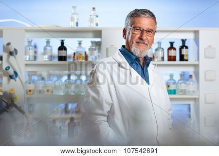 Senior chemistry professor/doctor in a lab (color toned image)