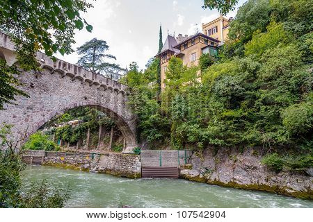 Stone Bridge Over Passer River In Merano