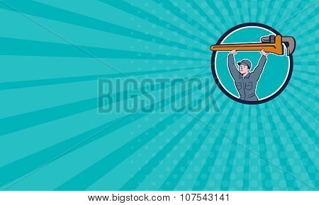 Business Card Plumber Lifting Monkey Wrench Circle Cartoon