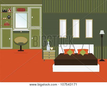 Bedroom Interior Flat Design.