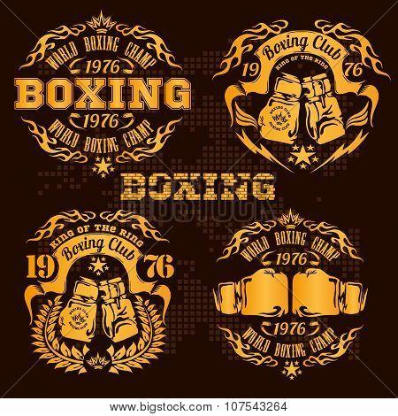 Set of vintage boxing emblems, labels, badges, logos and designed elements. Gold style.
