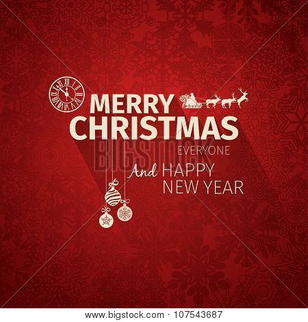 Colorful flat trendy Christmas card and New Year greetings