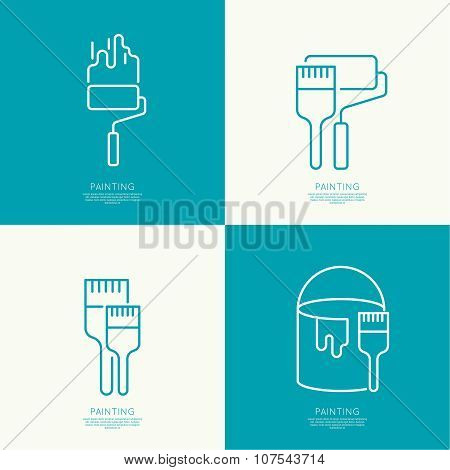 Icon set with brus