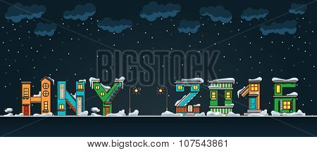 Alphabet Cartoon Winter House, Hny