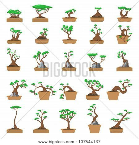 25 Cartoon bonsai trees set