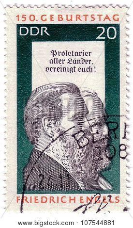 Gdr - Circa 1955: A Stamp Printed In Germany Shows Friedrich Engels And Karl Marx, Social Scientist,