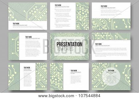Set of 9 templates for presentation slides. Microchip backgrounds, electrical circuits backdrops. Bu