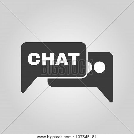 The speech bubble with a chat icon. Internet and forum, blog, online symbol. Flat