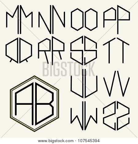Set 2 template letters to create monograms of two letters inscribed in a hexagon in Art Nouveau styl