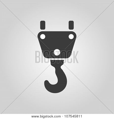 The crane hook icon. Building and lifting symbol. Flat