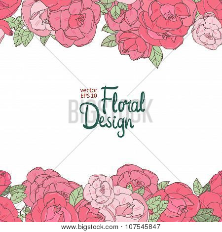 Vintage wedding border with pink roses