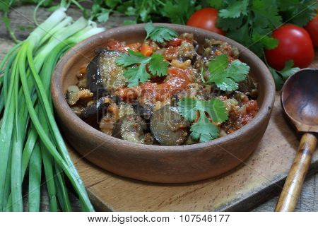 Spicy Eggplants With Tomatoes And Pepper And A Vodka Wine-glass