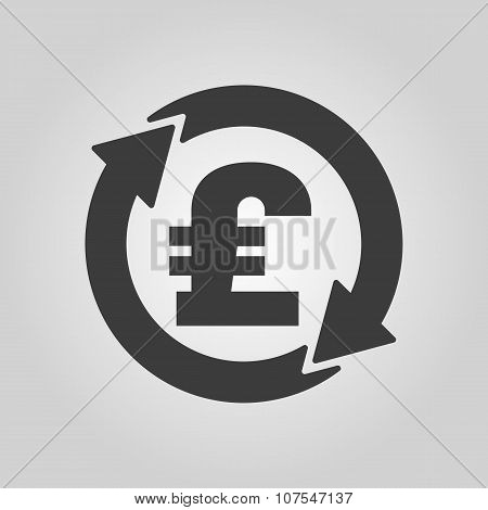 The currency exchange pound sterling icon. Cash and money, wealth, payment symbol. Flat