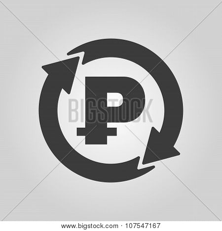 The currency exchange ruble icon. Cash and money, wealth, payment symbol. Flat