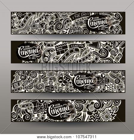 Cartoon vector hand-drawn sketchy trace Doodle Cinema banners design