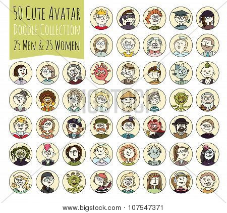 Cartoon funny user avatars in trendy hand drawn doodle style. Set of women men character faces with different emotions professions hobby. Cute vector illustration isolated on white. All people organized in groups for easy editing.