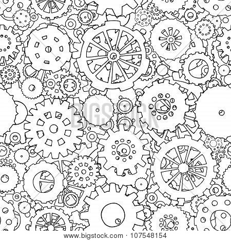Cartoon Seamless Pattern With Doodle Gears.