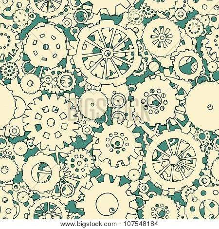 Cartoon Bright Seamless Pattern With Doodle Gears.