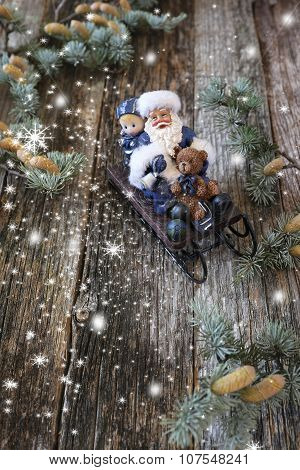Christmas Background: Santa Claus In Sledge