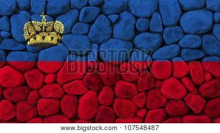 Liechtenstein flag painted on stone