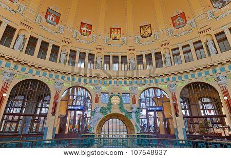Interior Of Main Railway Station In Prague