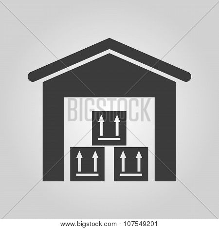 The warehouse icon. Storehouse and logistic symbol. Flat