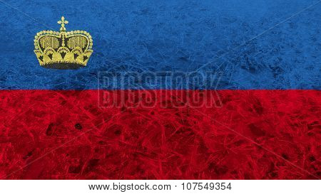 Flag of Liechtenstein painted on ice texture