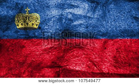 Flag of Liechtenstein painted on wool texture