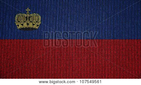 Liechtenstein flag painted on stitch texture