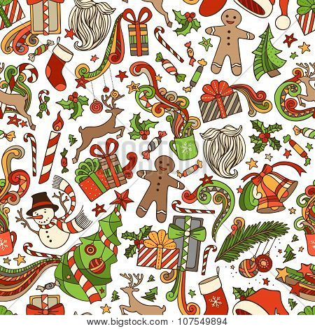 Vector Seamless Cartoon Christmas Pattern.