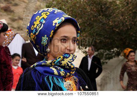 Kov-ata, Turkmenistan - October 18. Portrait Of Unidentified  Asian Woman In A Headscarf.