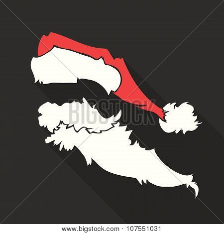 Flat Design Vector Santa Claus Face with beard and hat. Icon. Greeting Card.